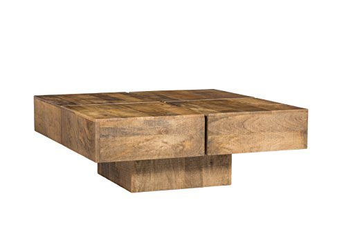 Woodkings Couchtisch Amberley 80x80cm Holz Mango Natural Rustic, Echtholz modern, Design, Massivholz exklusiv, Lounge Coffee Table günstig