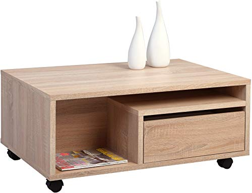 HomeTrends4You Clerk Couchtisch, MDF Dekor, Sonoma Eiche, 90 x 60 x 40 cm